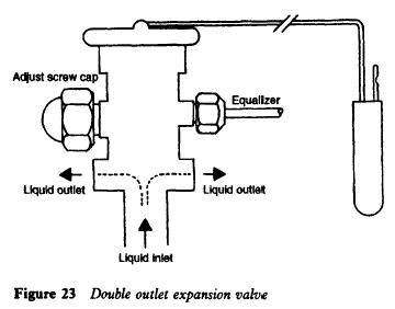 Double outlet expansion valve