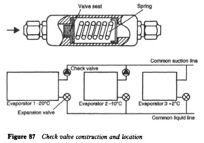Check valve construction and location