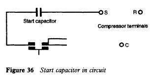 Start capacitor in circuit