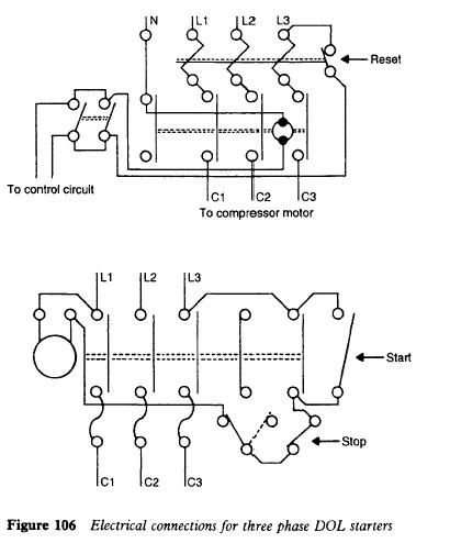 three phase DOL starter refrigerator three phase electrical connections refrigerator single phase refrigeration compressor wiring diagram at soozxer.org