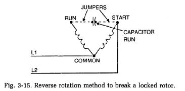 reverse rotation method to break locked rotor refrigerator reverse rotation